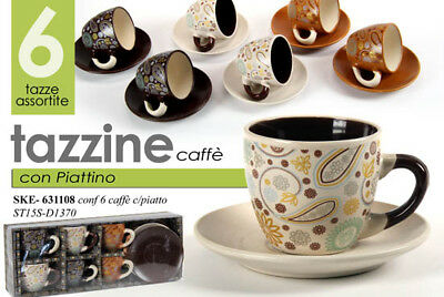SET 6 TAZZINE + 6 PIATTI DA CAFFè PORCELLANA PREMIUM COFFEE ASSORTITE SKE 630439