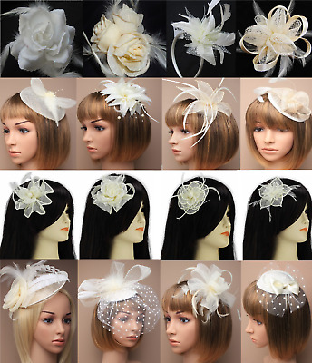 Wedding White/Cream/Ivory Flower/Hat Hair Flower Fascinator Clip/Comb/Headband