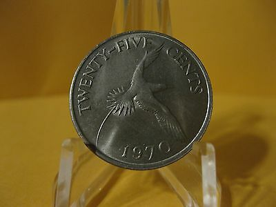 1970 Bermuda coin 25 cents  TROPIC BIRD   Uncirculated Beauty sweet classic coin