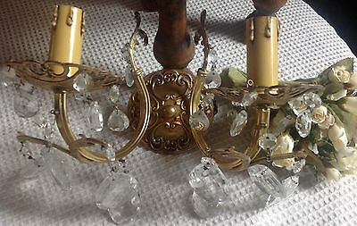 Bronze Wall Lamp Crystal Droplets French Antique Vintage Superb Item Two Branch