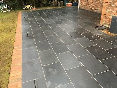 Natural  Black Slate Paving Garden Patio Slabs 10m2 600x400mm 15 to 20mm Thick