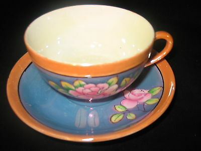 CUP AND SAUCER -- 1930s JAPANESE LUSTERWARE PORCELAIN Hand painted  VINTAGE