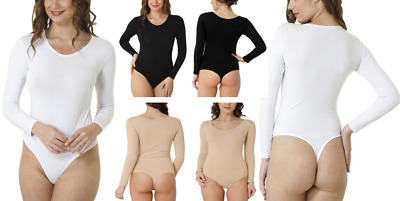 Kefali Womens Round Neck Long Sleeve Stretch Bodysuit Ladies Leotard Lingerie
