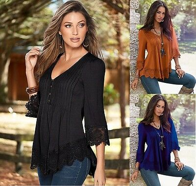 Sexy Women Fashion Long Sleeve Casual Lady Tank Tops Loose T-Shirt  Blouse Lace