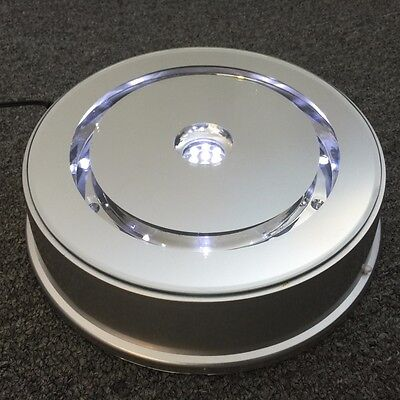 "Merchandise Display 8"" Base Rotating Turntable Silver Mirrored LED Lighted White"