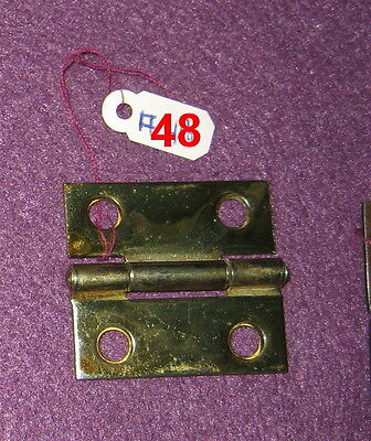 Old Antique Vintage 1 Pc Butt Door Hinge Steel Plated Brass Made In Usa # 48