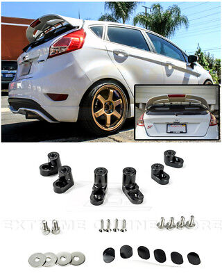 For 14-Up Ford Fiesta ST Hatchback Black Rear Wing Spoiler Riser Extender Kit
