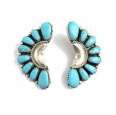 Native American Sterling Silver Hand Made Turquoise Cluster Earring