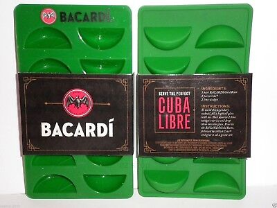 2pk Bacardi Rum Bar Green Lemon / Lime Slice Silicone Rubber Ice Cube Tray, New