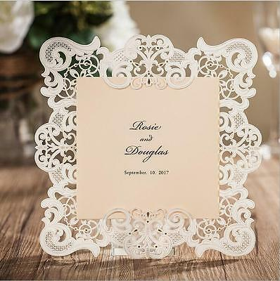50 x White Laser Cut Wedding Invitations With RSVP Blank Cards+ Envelopes Seals