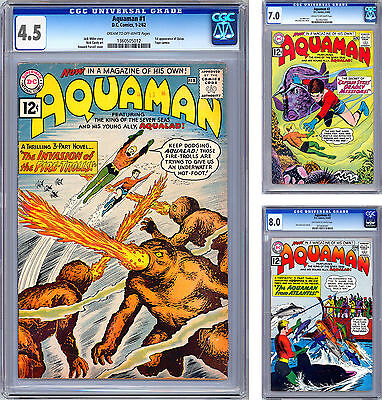 Aquaman #1-2-3 Cgc 4.5-7.0-8.0 Nick Cardy Cover Art Classic Silver Age Keys 1962