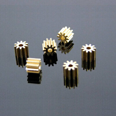10x Metal Gear spindle Copper gear 10 teeth 2mm id 0.5 Modulus DIY motor