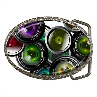 Colored Camera Lenses Photo Belt Buckle Silver Metal