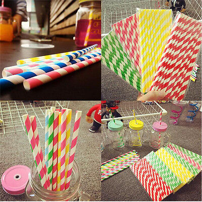 Striped Birthday Wedding Party Biodegradable Paper Healthy Drink Straws 25Pcs