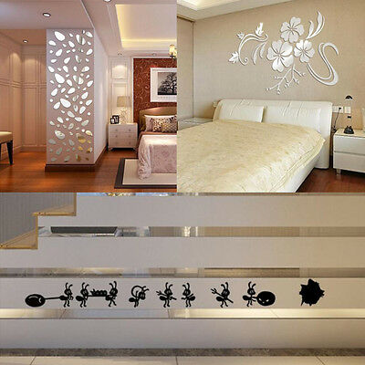 12PCS 3D Mirror Wall Sticker Cute Ants Vinyl Decal Art DIY Home Decor Removable