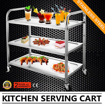 Kitchen Stainless Steel Serving Cart Workstation Utility Dolly 3 Shelf EXCELLENT