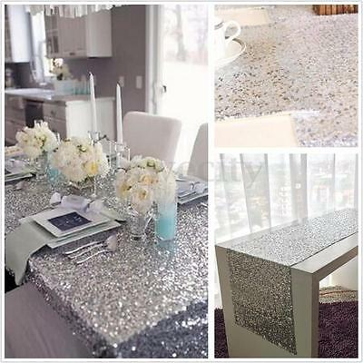 5Pcs Sparkly Silver Sequin Table Cloth Runner for Wedding Birthday 12''x72''Inch