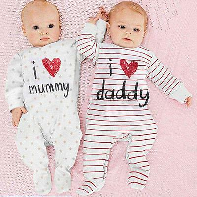 Newborn Baby Girl Boys Bodysuit LOVE DADDY MOM Cotton  Romper Jumpsuit Outfits
