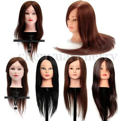 100% Real Human Hair Hairdressing Training Head Practice Mannequin + Free Clamp