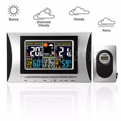 Indoor/ Outdoor Wireless LCD Weather Station Clock Calendar Humidity Thermometer