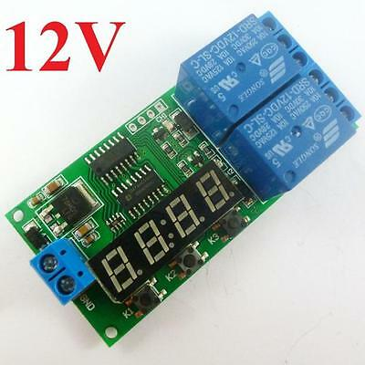 12V Digital Relay Cycle Delay Timer Timing Switch LED motor Reverse Control