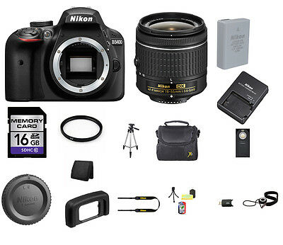 Nikon D3400 DSLR Camera - Black with 18-55mm Lens 16GB Top Value Bundle