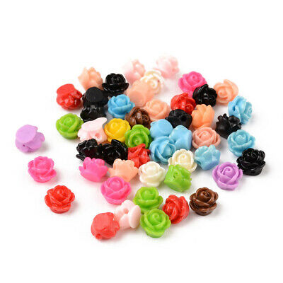 50pcs Colorful Mixed Flatback Rose Flower Opaque Resin Beads with hole 9x7mm