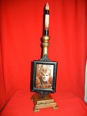 Wolfman Werewolf Lighted Flickering Flame Candle Halloween / Horror Portrait