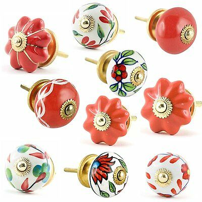Set of 10 Red and White Ceramic Cupboard Cabinet Door Knobs Drawer Pulls Small