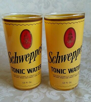 "(2) Schweppes Tonic Highball Glasses w/Gold Trim,  5-5/8"" ,  rare collectable"