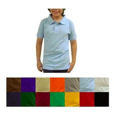 Noki Boy Solid Color Polo Shirt Short Sleeve School Uniform Size 6 8 10 12 14 16