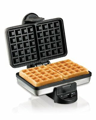 Waffle Maker Belgian Style Nonstick 2 Grids Stainless Steel Easy Storage