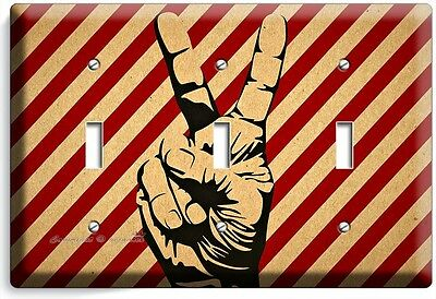 Peace Sign Victory Hand Fingers Triple Light Switch Wall Plate Cover Room Decor