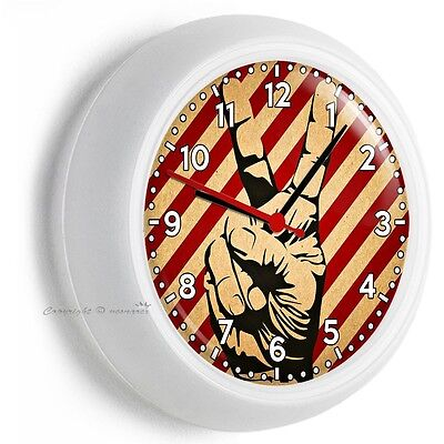 Peace Sign Victory Hand Fingers Wall Clock Bedroom Tv Man Cave Room Home Decor