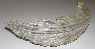 Murano glass leaf branch from epergne or chandelier part gold leaves lamp light
