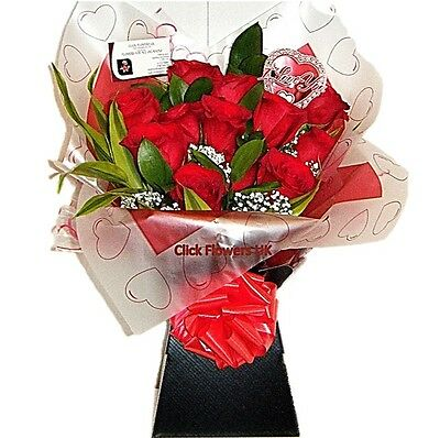 FRESH REAL FLOWERS  Delivered Premium Red Roses Bouquet Free Flower Delivery