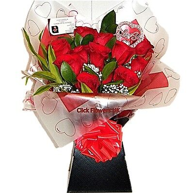 Fresh Real Flowers Delivered Valentine Premium Real Red Rose Selection Bouquet
