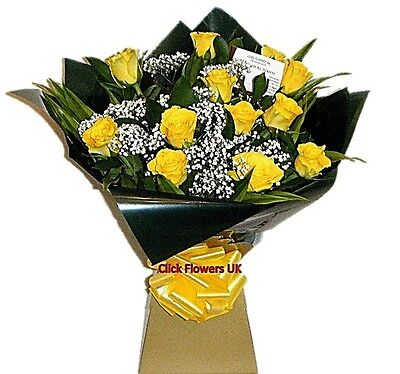 FRESH REAL FLOWERS  Delivered Sunshine Real Yellow Rose All Occasions Bouquet