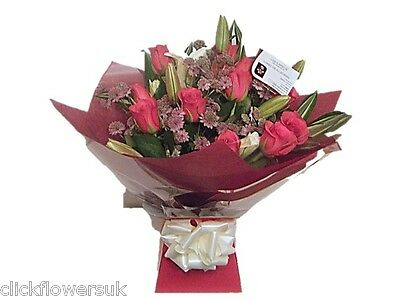 FRESH REAL FLOWERS  Delivered UK Lily and Rose All Occasions Selection Bouquet