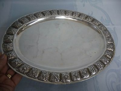 VINTAGE MEXICAN STERLING TRAY w/FLORAL REPOUSSE BORDER - GREAT DESIGN!