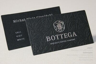 LETTERPRESS embossed business cards on 1mm thick cotton paper