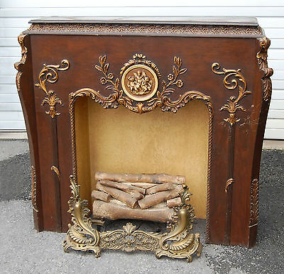 Antique Faux Decorative Wooden Fireplace Mantel w/ a Delehanty Institute Radio