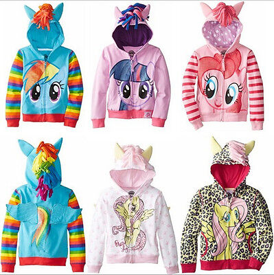My Little Pony Wing Girls Kids Toddler Hoodie Cute Sweatshirt Coat Zip Jacket ##