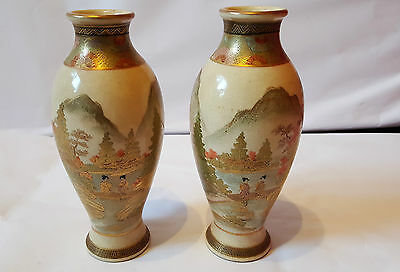 Pair of Early 20th Century Signed Satsuma Vases