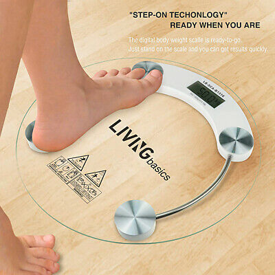 180kg/400lb New Digital LCD Glass Electronic Weight Body Bathroom Health Scale