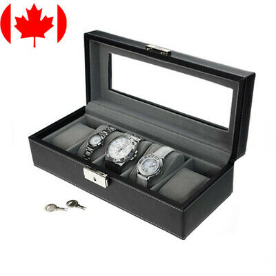 Leather 5 Slots Wrist Watch Display Box Storage Holder Organizer Case Men Gift