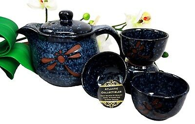 Japanese Tombo Dragonfly Ceramic 20oz Tea Pot With Metal Strainer and Cups Set