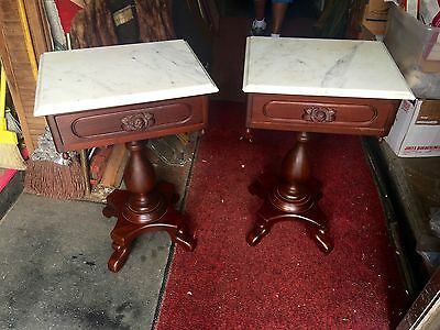Fantastic Pr Of French Floral Victorian Marble top End tables