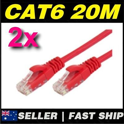2 x 20m Red Cat 6 Cat6 1000Mbps Premium RJ45 Ethernet Network LAN Patch Cable