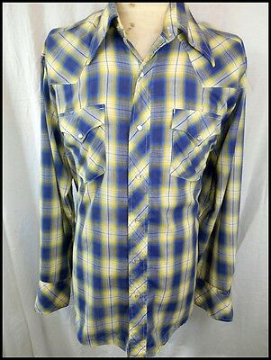 Vintage 70s Blue Yellow Plaid Poly/Cotton Western Cowboy Shirt Pearl Snaps L